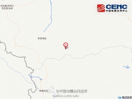 中新网2月13日电据中国地震台网正式测定:2月13日15时34分在新疆维吾尔自治区和田地区于田县(北纬36.1度,东经82.5度)发生4.1级地震,震源深度8千米。