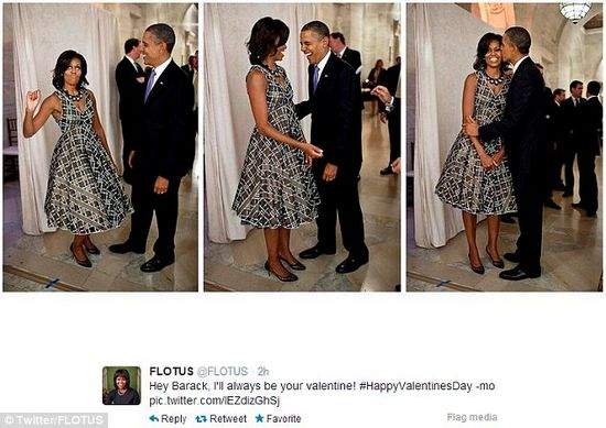 """米歇尔在推特上贴出两人的逗趣组图,并写道:""""巴拉克(奥巴马),我永远都是你的情人,情人节快乐。"""""""