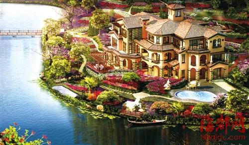 湖畔景观手绘效果图