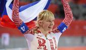 图文:速度滑冰女子团体追逐赛 斯科科娃庆祝