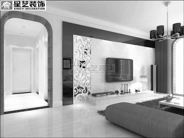 在电视背景墙上黑镜白雕花的颜色对比,另外垭口处户型马赛克的处理使