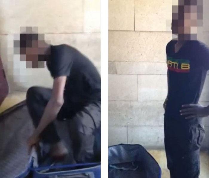 西班牙边境警察发现19岁马里男子藏匿行李箱中。网页截图
