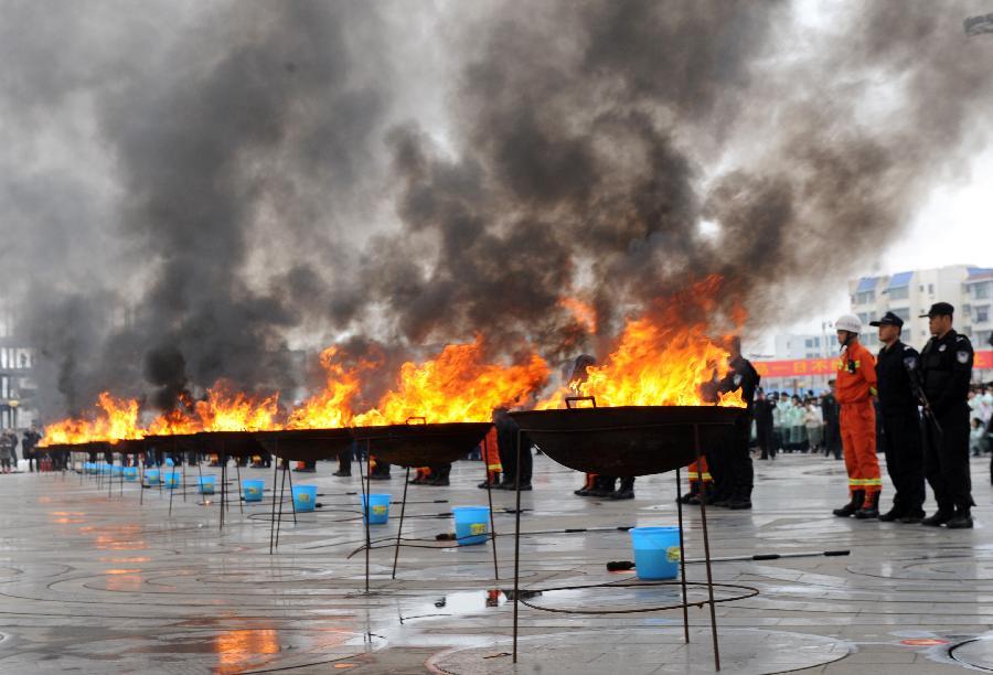 广西宁明销毁中越两国缴获的毒品1000公斤