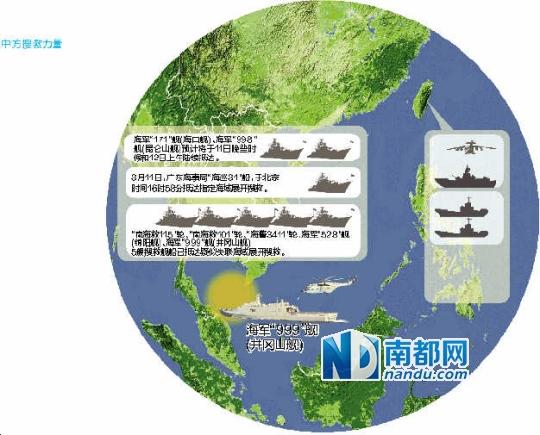 """海军""""171""""舰(海口舰)、海军""""998""""舰(昆仑山舰)预计将于11日晚些时候和12日上午陆续抵达。"""
