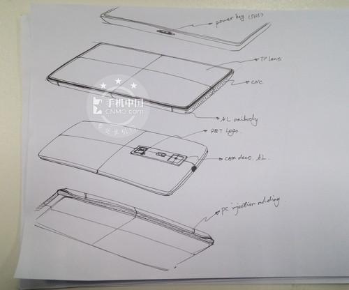 双闪光灯超窄边 一加手机设计手稿曝光图片