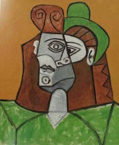严陆根创办的百家湖博物馆藏品—毕加索油画《戴绿帽子的女人》。