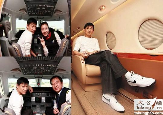 赵本山   的私人飞机同样非常豪华,型号是挑战者850:宽敞的客舱是同级别公务机中前所未有的。 其内部舱长达到48.42英尺(14.75米),宽8.17英尺( 2.49米)、高6.08英尺(1.85米)。客舱最多可配置16个乘客座位,其标准的座位配置是12座。挑战者850的客舱通常分为三个独立的区域,如果把座位数设定在7-10个左右,可以把多出的空间改为酒吧、套房或者办公区,甚至健身房也能定制到飞机上。舱内有盥洗室以及配有微波炉、烤箱和冰箱的厨房。   这架飞机平时包括飞行员、日常维护和保险等维护费用