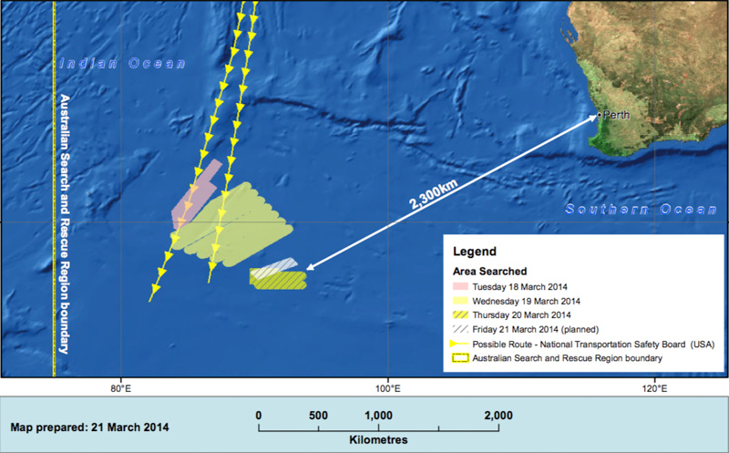 截至3月21日的搜救区域图示图片来源:澳大利亚海事安全局
