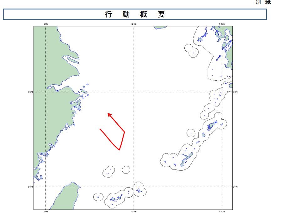 日方公布的中国飞行线路示意图