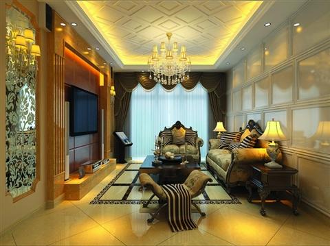 印花扑面的欧式沙发,金色镶边