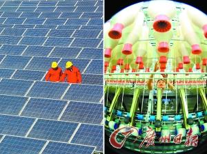 技术人员在检查山东即发集团厂房屋顶太阳能光伏发电设备(左图);即发集团纺纱生产车间利用屋顶太阳能光伏发电站产生的电能生产(右图)。新华社图