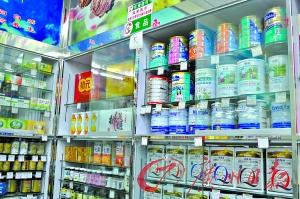 药店售卖的奶粉品牌并不多。