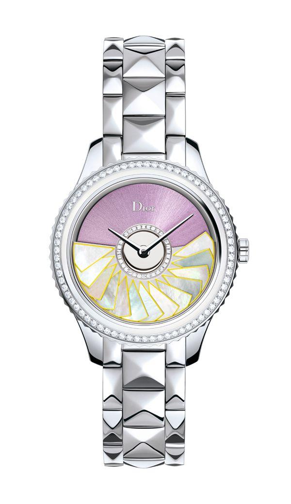 "DIOR VIII GRAND BAL ""PLISS SOLEIL""精钢款 珍珠母贝和钻石装饰表圈-36MM"