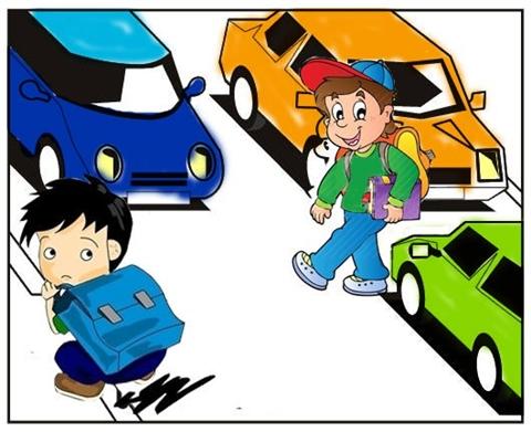 幼儿手绘家庭道路图