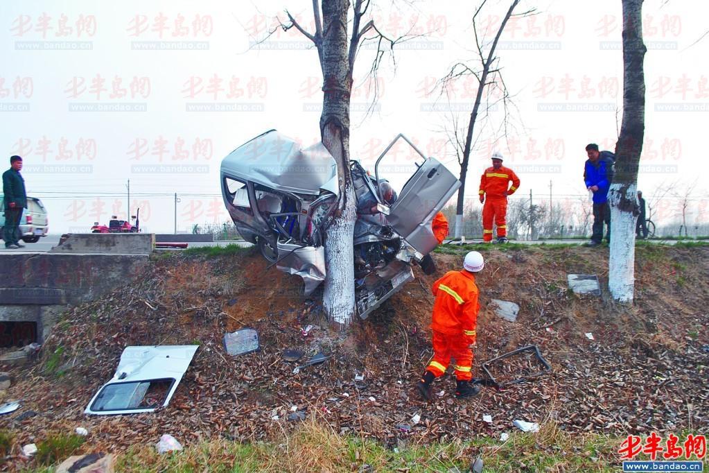 一辆面包车撞在一棵大树上造成严重变形,司机被变形的面包车死死卡住.图片