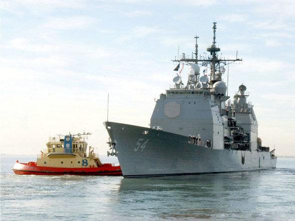 """美国海军""""提康德罗加""""级导弹巡洋舰。"""