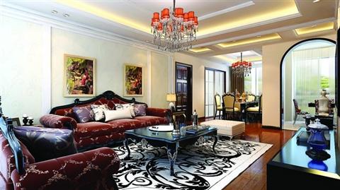 而欧式沙发椅和黑白地毯搭配,一股内在的优雅呼之欲出.