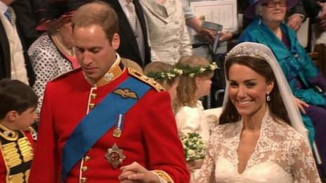威廉和凯特2011年在伦敦西敏寺举行婚礼。