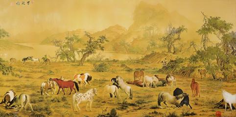 中国古画 郎世宁 名作 《白骏马》 瓷板画图片