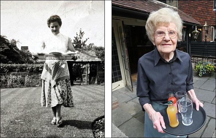 左图是1949年,多莉・萨维尔当服务员照片,右图为99岁的萨维尔仍在工作。网页截图