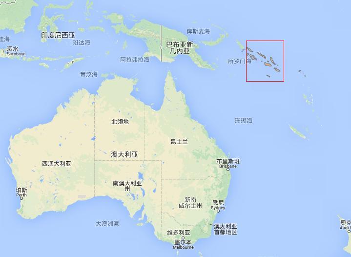 图中红框内岛屿即所罗门群岛。