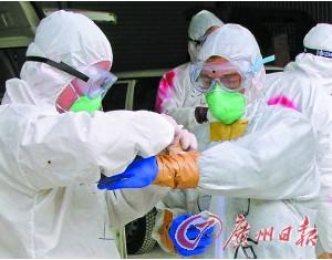 日本防疫工作人员在检测禽流感病毒。(资料图片)