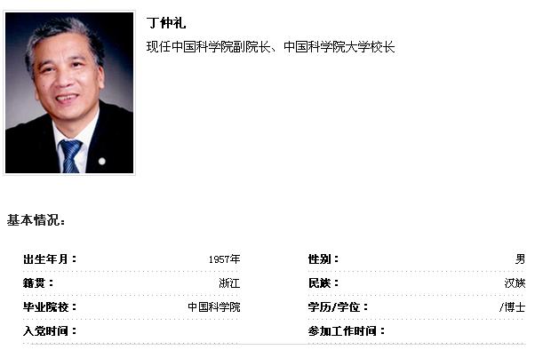 到中国党政领导干部资料库查询丁仲礼简历