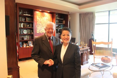 驻休斯敦总领事许尔文离任拜会美国前总统卡特