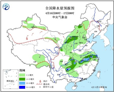 中新网4月16日电据中央气象台消息,未来三天,四川盆地东部、贵州北部、江淮中南部等地的部分地区有大到暴雨(50~80毫米),上述部分地区并伴有雷暴大风、冰雹等强对流天气。