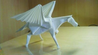 还拿出平时自己折出的恐龙,飞象,飞马等非常难的折纸向大家展示,令在