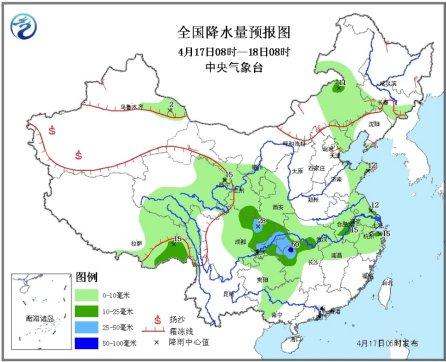 长江中下游将迎降雨 局地大暴雨伴有雷暴冰雹