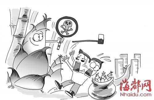 卡通竹林俯视手绘