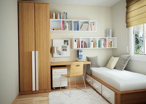 长方形的卧室变为正方形的方法很简单,在卧室的中间用矮柜隔断,使卧室
