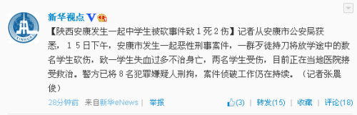 陕西安康中学生被追砍致1死2伤 8嫌犯被刑拘