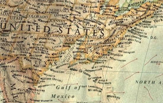 据瓦尔吉奇的地图所示,除低洼地带如荷兰会沉在水底外,北欧及美国东部