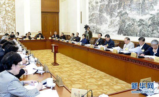 张德江委员长参加审议。 新华社记者 张铎 摄