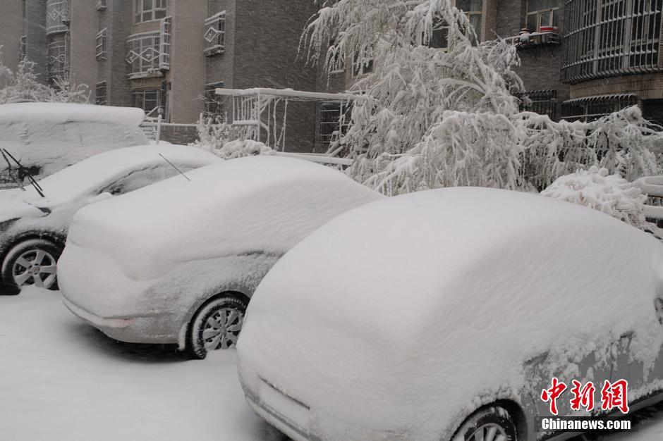 4月23日,受降雪天气影响,乌鲁木齐光明路车辆行驶缓慢。当日,新疆乌鲁木齐市迎来大雪天气,气象台发布暴雪黄色预警信号。 新华社发 (吴壮)