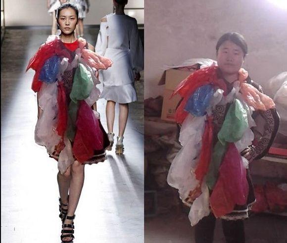 """泰安奇葩""""仙女""""设计师网络爆红 头顶鞋子身披塑料袋(组图)图片"""