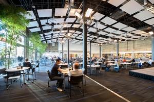 图为社交网络公司Twitter的自助餐厅,这里实习生平均月薪为6,791美元。