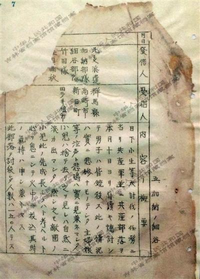 1944年《邮政检阅月报(二月)》中的一份文件,文件记载了日军在扫荡一个村落时,所有男子被杀,小孩被扔进火中,共有150人遇害。新华社发
