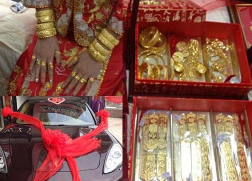 新娘出嫁戴50只金手镯 福建黄金新娘再引热议