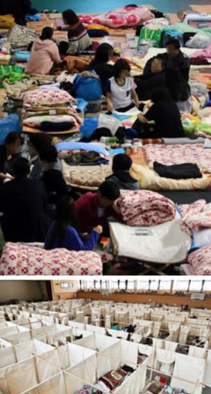 上图为韩国珍岛体育馆的岁月号家属休息所,下图为东日本大地震后的体育馆避难所网页截图