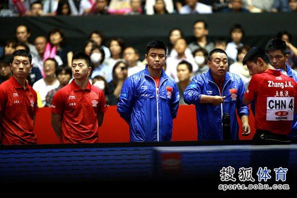 图文:[世乒赛]中国男团晋级四强 找到失分根源