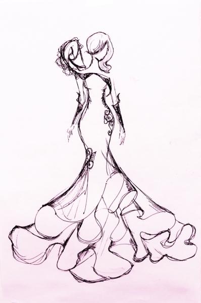 牡丹花主题婚纱礼服
