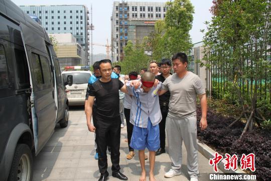 图为:5名犯罪嫌疑人抓获归案。 龙公宣 摄