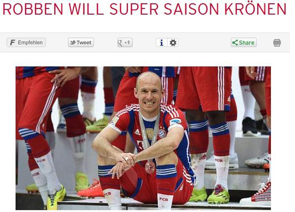 罗本被《踢球者》评选为德甲赛季最佳球员