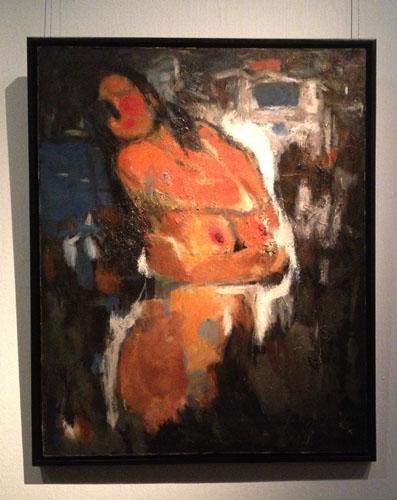 展出作品:曹新林 《人体-醉意》 91×72.7cm 亚麻布,油彩 2001