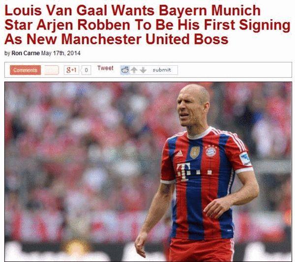 《洞察越位》:范加尔希望他在曼联上任后的首签是拜仁罗本