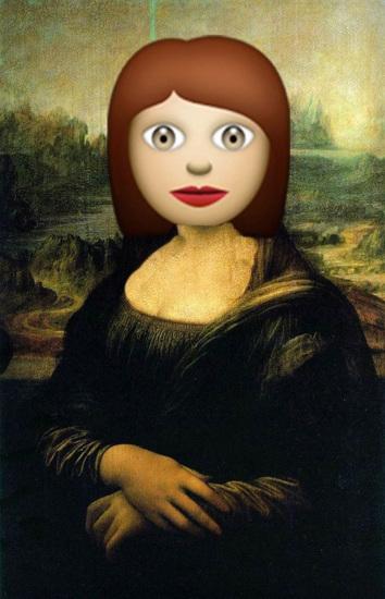 手机/名画《蒙娜丽莎》的脸部被换上了手机表情符号。