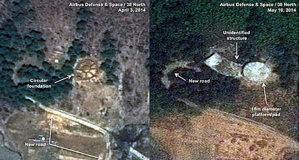 韩媒对比了4月3日和5月10日商业卫星拍摄的照片,分析称朝鲜正在加紧建设导弹发射基地。